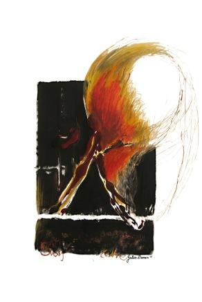Le feu Encre, pastels gras et crayon sur papier Disponible